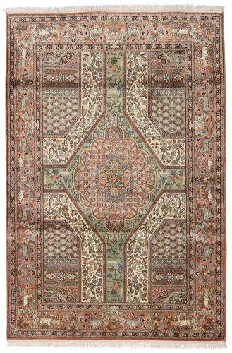 Noué à la main. Origine: India 126X189 Tapis D'orient Cachemire Pure Soie Marron/Gris Clair (Soie, Inde)