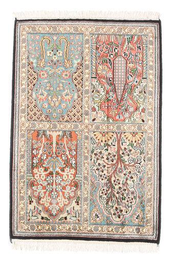 Noué à la main. Origine: India Tapis D'orient Cachemire Pure Soie 62X96 Beige/Gris Clair (Soie, Inde)