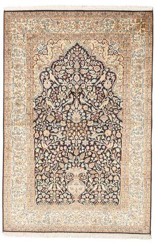 Noué à la main. Origine: India Tapis D'orient Cachemire Pure Soie 125X187 Beige/Marron Clair (Soie, Inde)