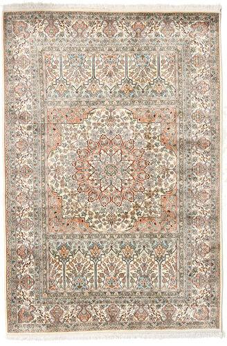 Noué à la main. Origine: India 127X186 Tapis Cachemire Pure Soie D'orient Fait Main Gris Clair/Beige (Soie, Inde)