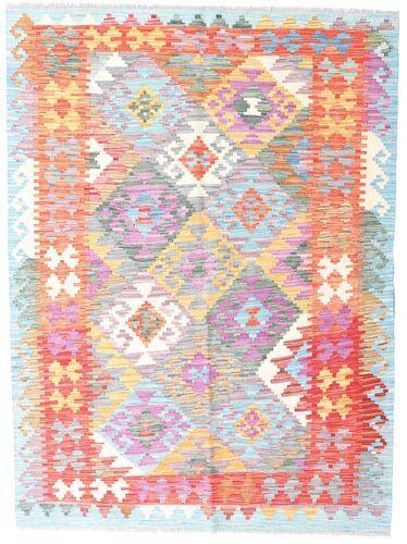 Noué à la main. Origine: Afghanistan 132X178 Tapis D'orient Kilim Afghan Old Style Blanc/Crème/Rose Clair (Laine, Afghanistan)