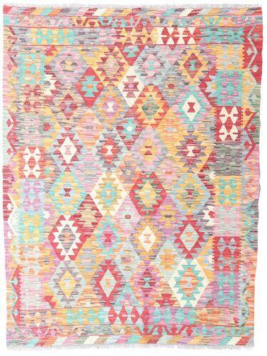 Noué à la main. Origine: Afghanistan 130X171 Tapis Kilim Afghan Old Style D'orient Tissé À La Main Rose Clair/Beige (Laine, Afghanistan)