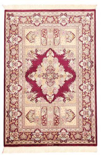 Noué à la main. Origine: Persia / Iran Tapis Ghom Soie 100X147 Rose Clair/Beige (Soie, Perse/Iran)