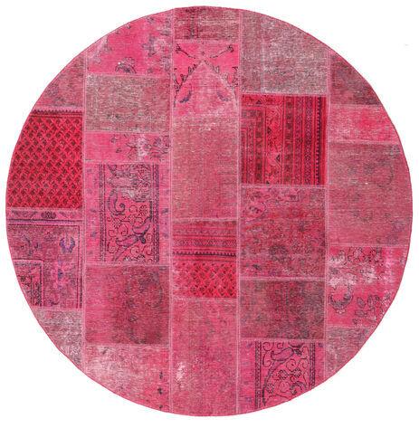 Noué à la main. Origine: Persia / Iran Tapis Fait Main Patchwork - Persien/Iran Ø 200 Rond Rose/Rose Clair (Laine, Perse/Iran)