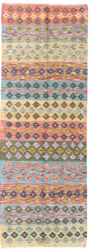 Noué à la main. Origine: Afghanistan 68X191 Tapis D'orient Kilim Afghan Old Style Tapis Couloir Beige Foncé/Rose Clair (Laine, Afghanistan)