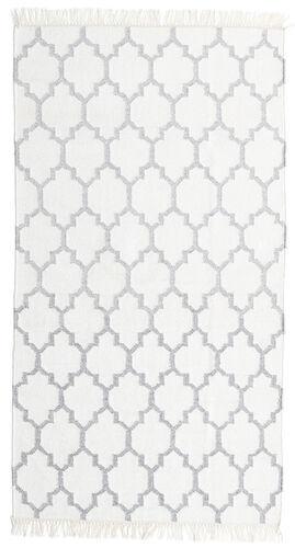 Noué à la main. Origine: India 90X160 Tapis Bambou Soie Kilim Moderne Tissé À La Main Blanc/Crème/Beige (Laine/Soie De Bambou,inde)