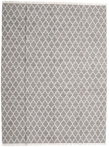 Noué à la main. Origine: India 300X400 Tapis Bambou Soie Kilim Moderne Tissé À La Main Gris Clair/Blanc/Crème Grand (Laine/Soie De Bambou,inde)