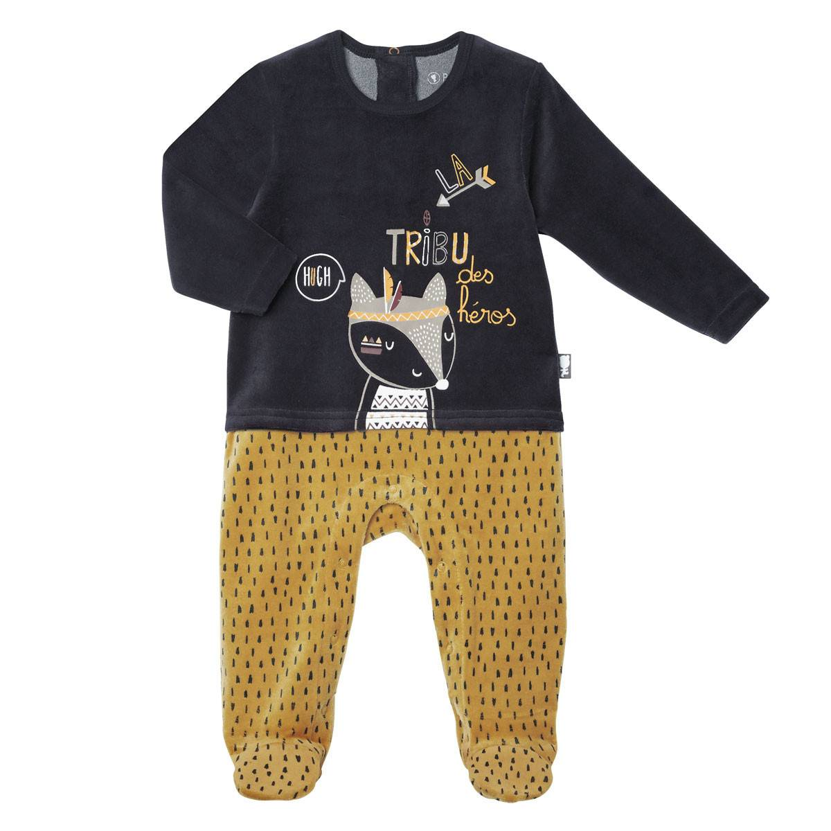 Petit Béguin Pyjama bébé velours Foxy - Taille - 6 mois
