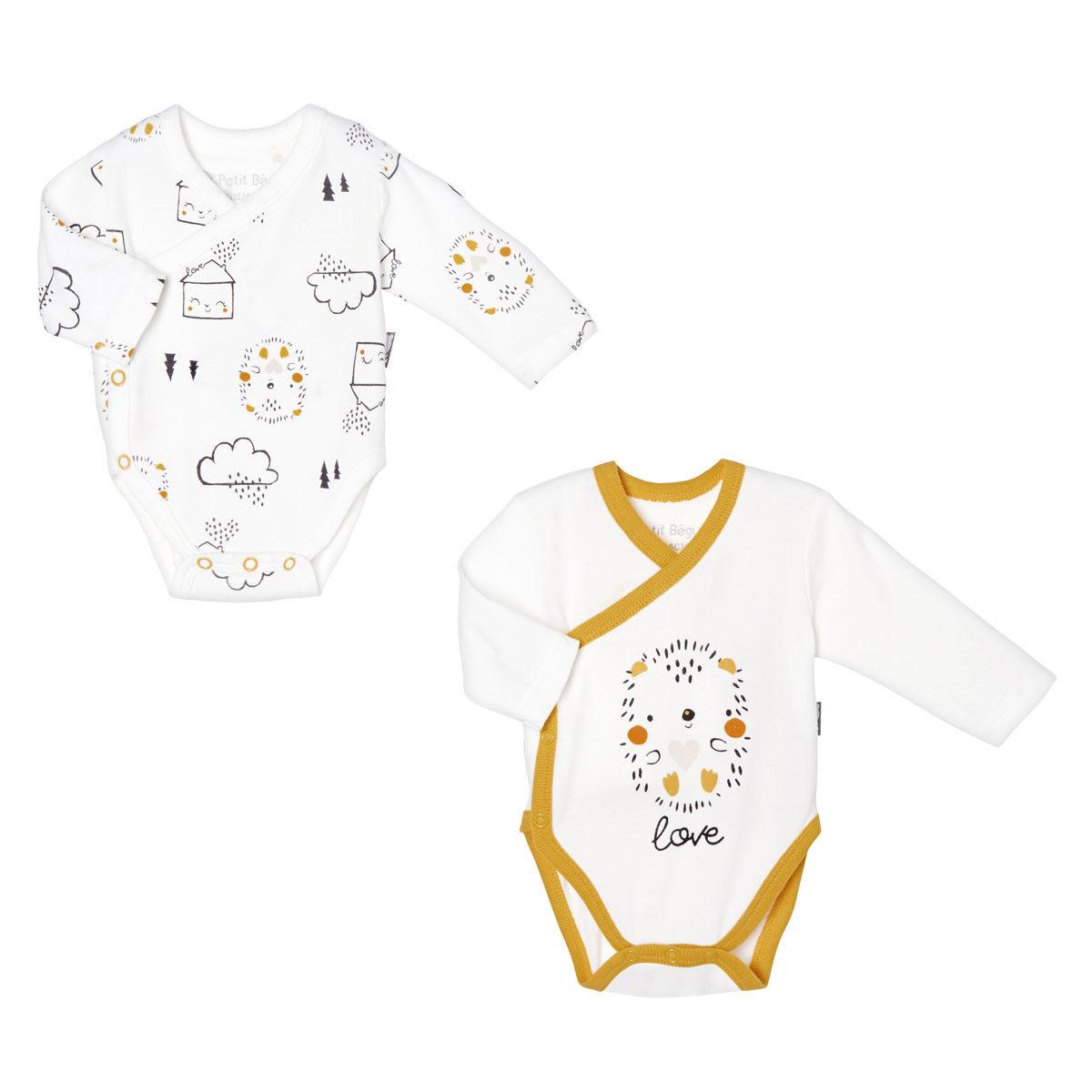 Petit Béguin Lot de 2 bodies bébé mixte croisés manches longues Love Baby - Taille - 6 mois