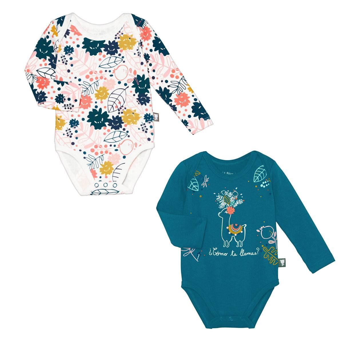 Petit Béguin Lot de 2 bodies bébé fille manches longues Lamapampa - Taille - 6 mois