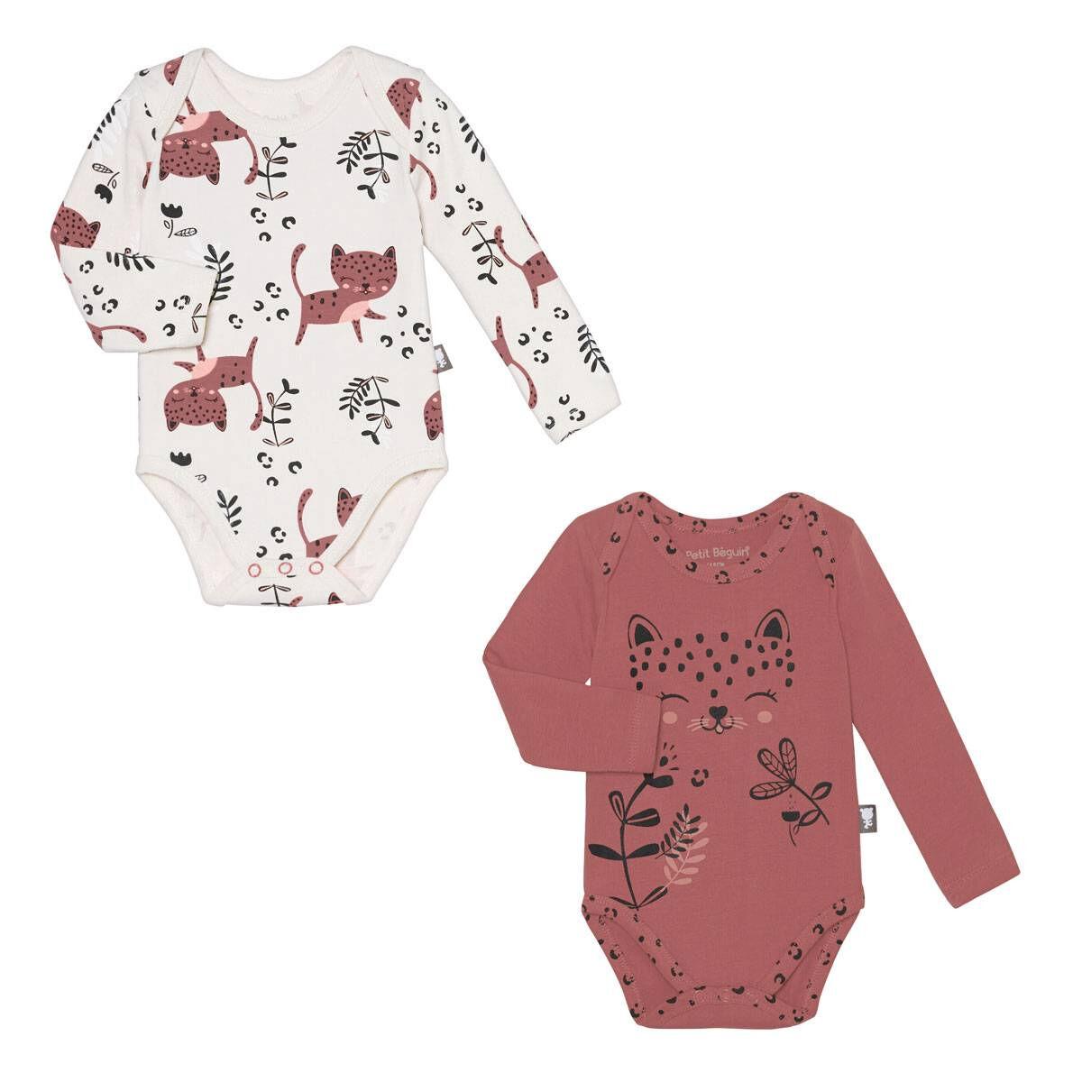 Petit Béguin Lot de 2 bodies bébé fille manches longues Léa - Taille - 6 mois