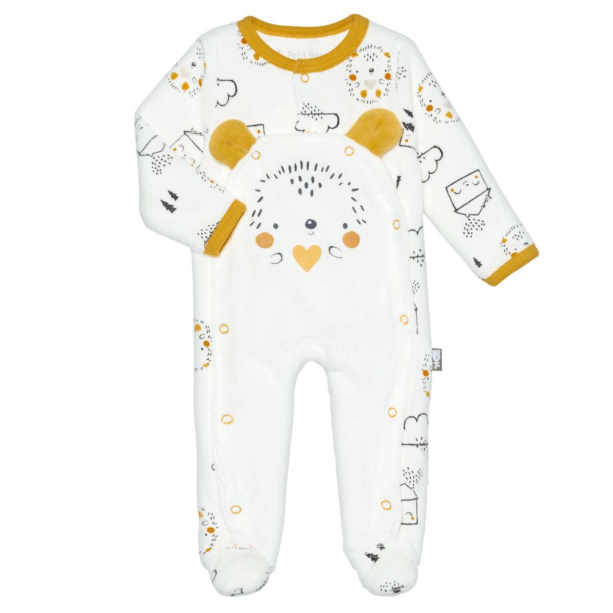 Petit Béguin Pyjama bébé mixte velours Love Baby - Taille - 3 mois