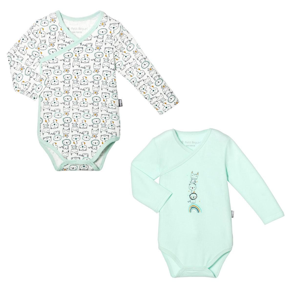 Petit Béguin Lot de 2 bodies croisés bébé garçon manches longues Bamaco - Taille - 6 mois