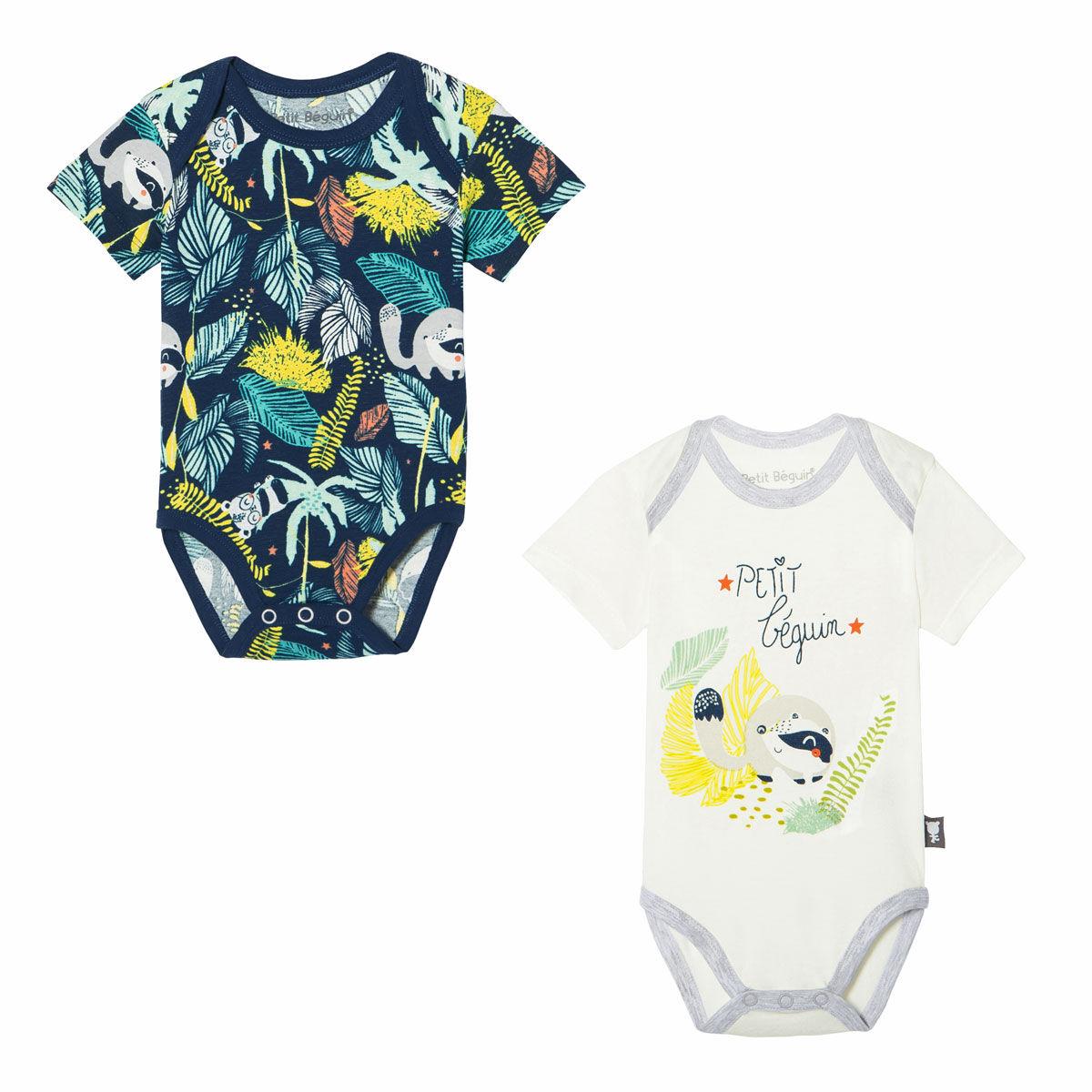 Petit Béguin Lot de 2 bodies bébé garçon manches courtes Kenya - Taille - 6 mois