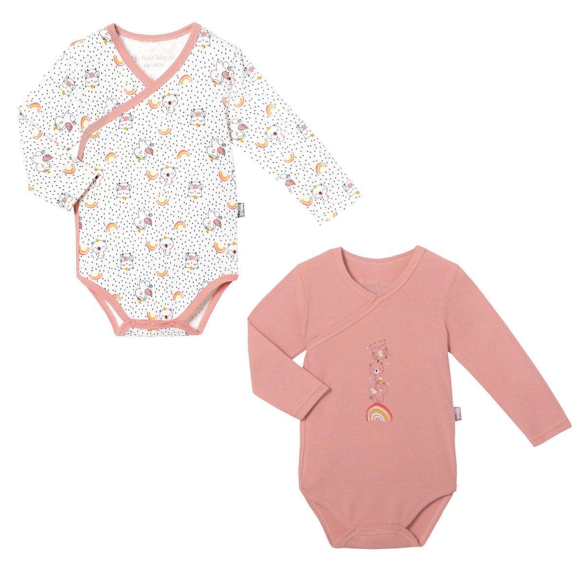 Petit Béguin Lot de 2 bodies croisés bébé fille manches longues Pandicorne - Taille - 6 mois