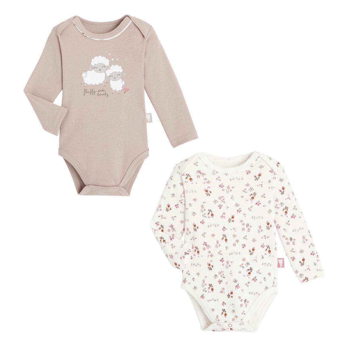 Petit Béguin Lot de 2 bodies bébé fille manches longues Lovely Baby - Taille - 6 mois