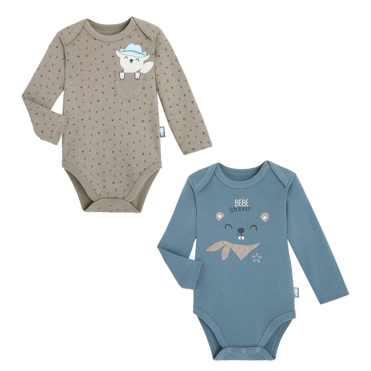 Petit Béguin Lot de 2 bodies bébé garçon manches longues Little Cowboy - Taille - 6 mois