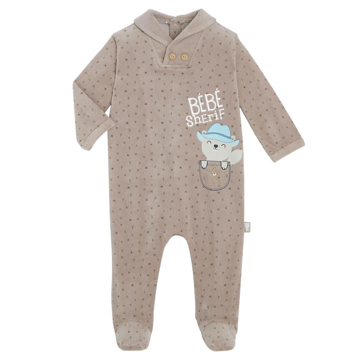 Petit Béguin Pyjama bébé velours Little Cowboy - Taille - 6 mois
