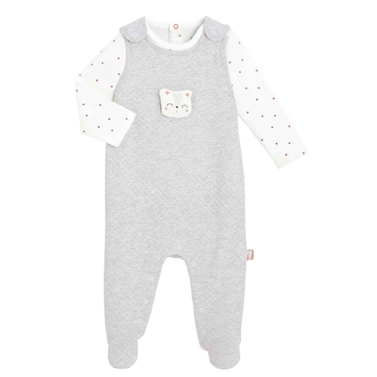 Petit Béguin Salopette + T-shirt coton bébé mixte Forever - Taille - 1 mois