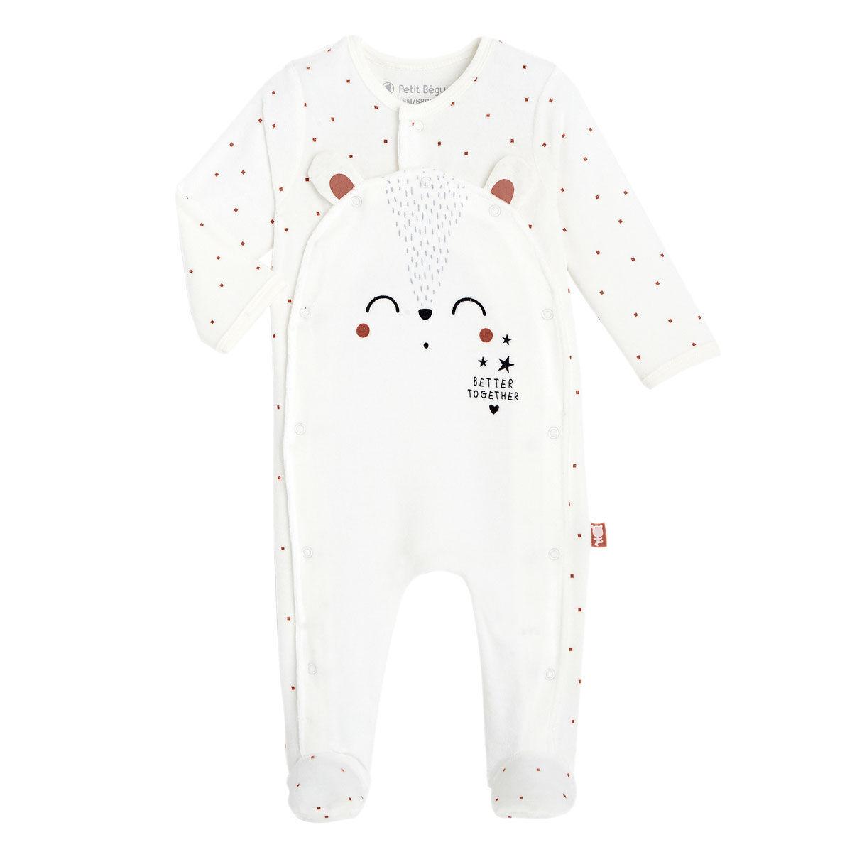 Petit Béguin Pyjama bébé velours mixte Forever - Taille - 6 mois