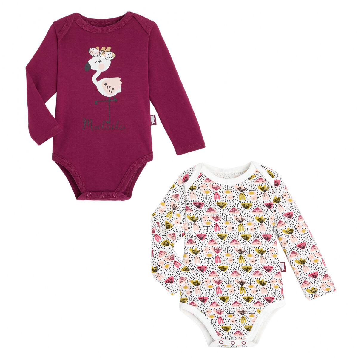 Petit Béguin Lot de 2 bodies bébé fille manches longues contenant du coton bio Muchacha - Taille - 3 mois