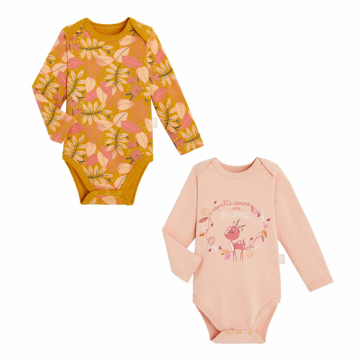 Petit Béguin Lot de 2 bodies bébé fille manches longues contenant du coton bio Papaye - Taille - 3 mois