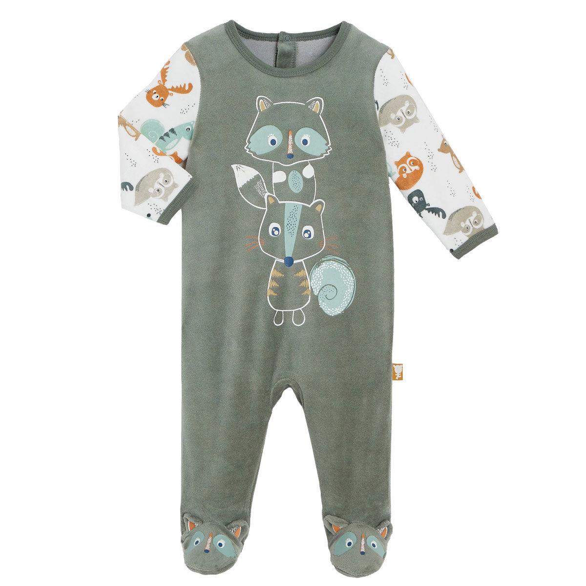 Petit Béguin Pyjama bébé en velours contenant du coton bio Noisette - Taille - 3 mois