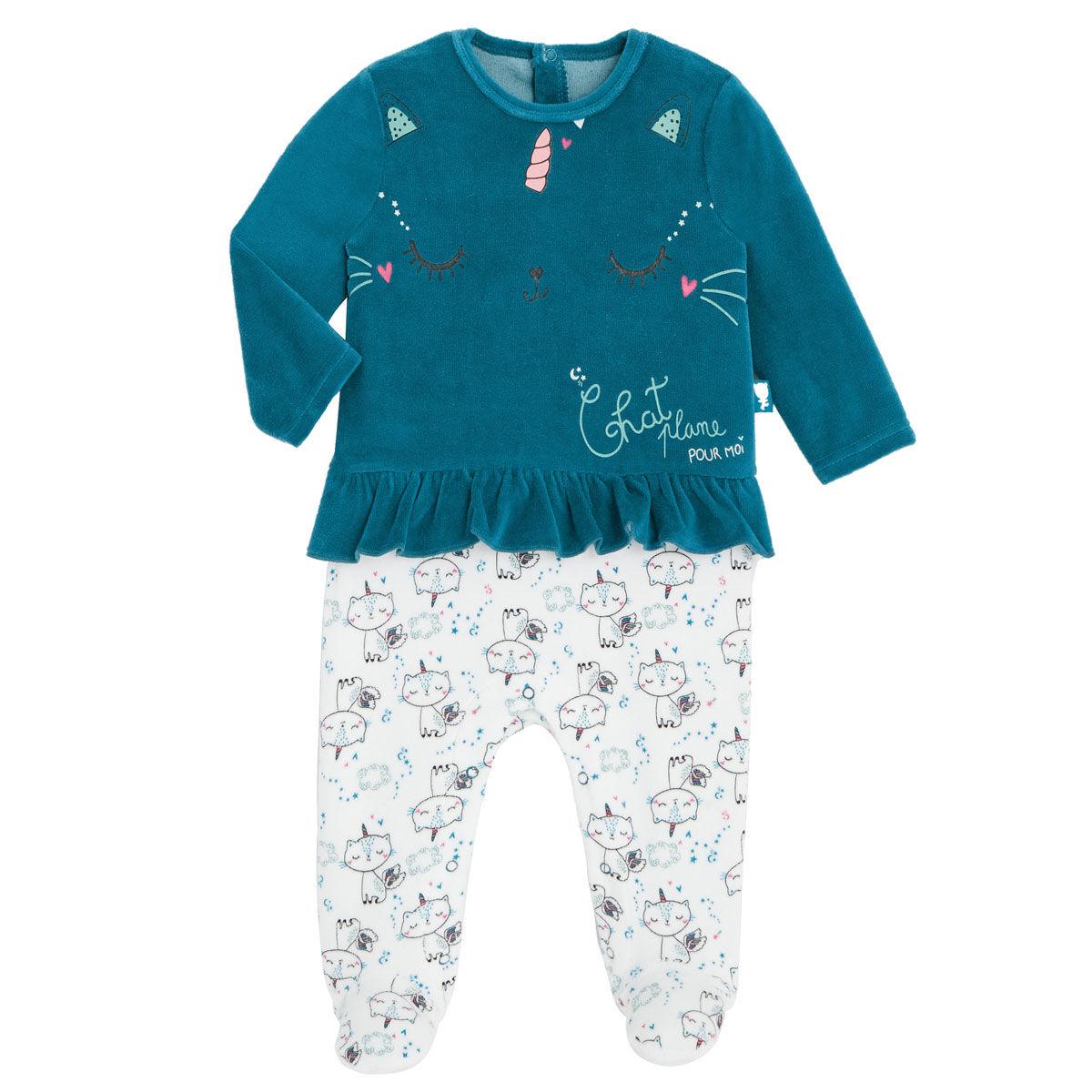 Petit Béguin Pyjama bébé en velours contenant du coton bio Chat Plane - Taille - 9 mois