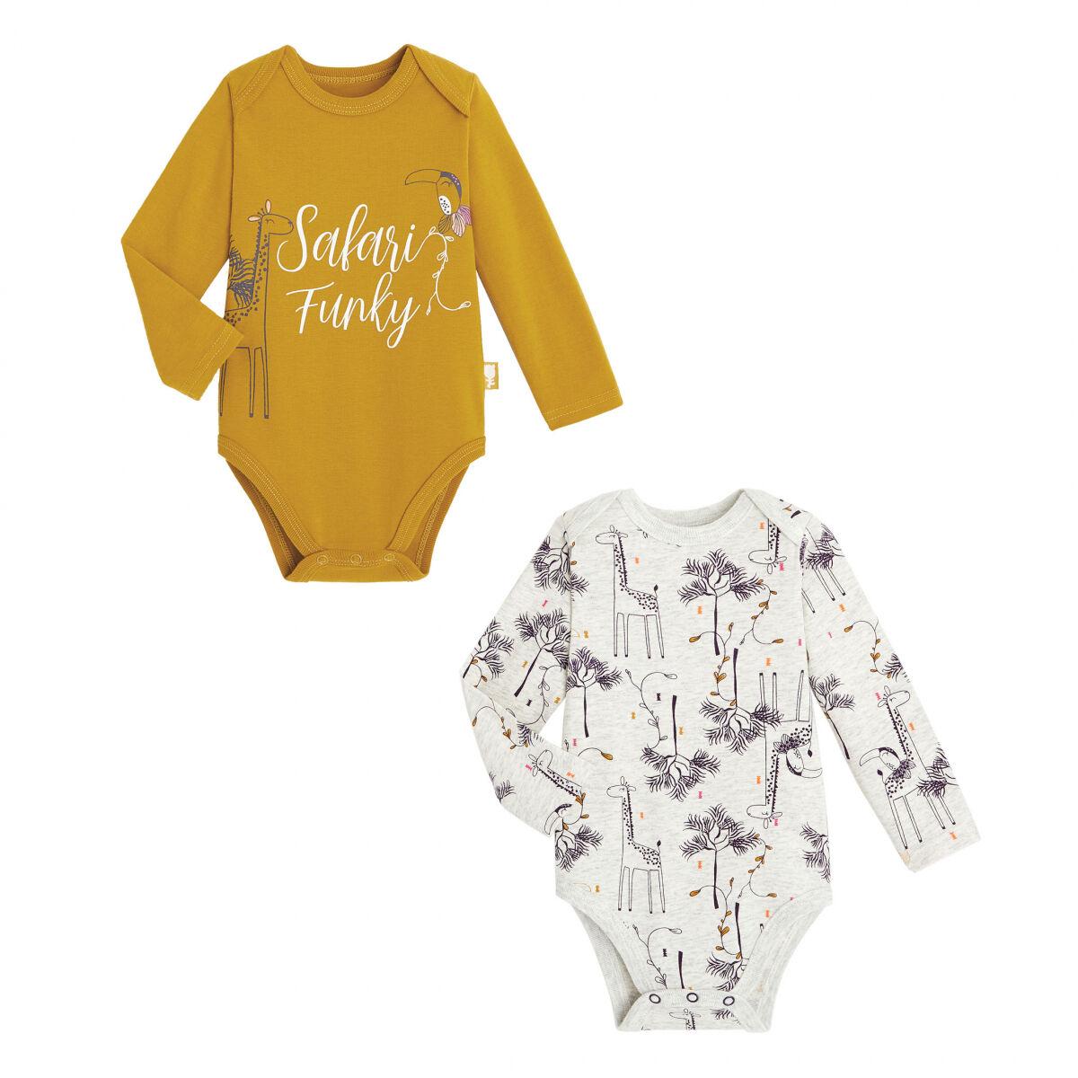 Petit Béguin Lot de 2 bodies bébé fille manches longues contenant du coton bio Funky Safari - Taille - 9 mois