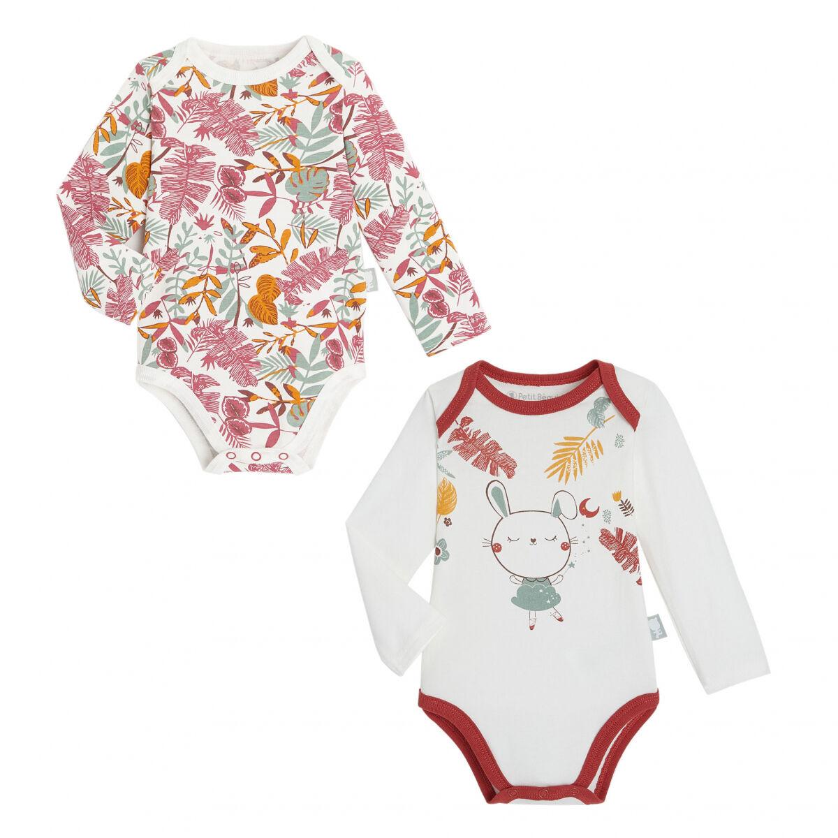 Petit Béguin Lot de 2 bodies bébé fille manches longues contenant du coton bio BonjourAmour - Taille - 24 mois
