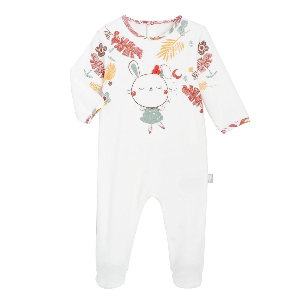 Petit Béguin Pyjama bébé en velours contenant du coton bio BonjourAmour - Taille - 18 mois