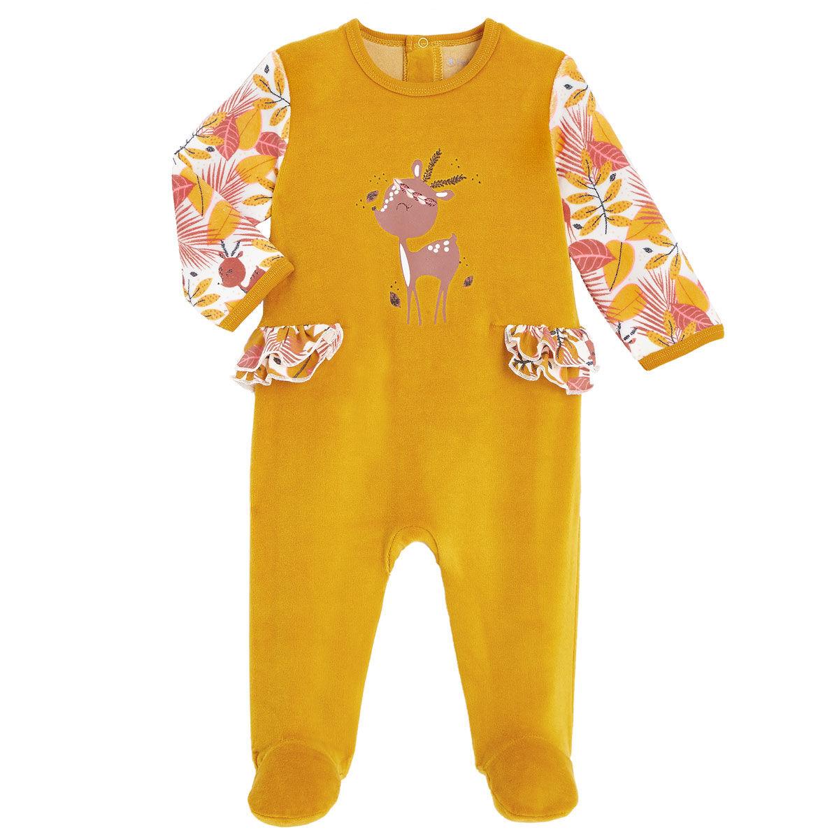 Petit Béguin Pyjama bébé en velours contenant du coton bio Papaye - Taille - 9 mois