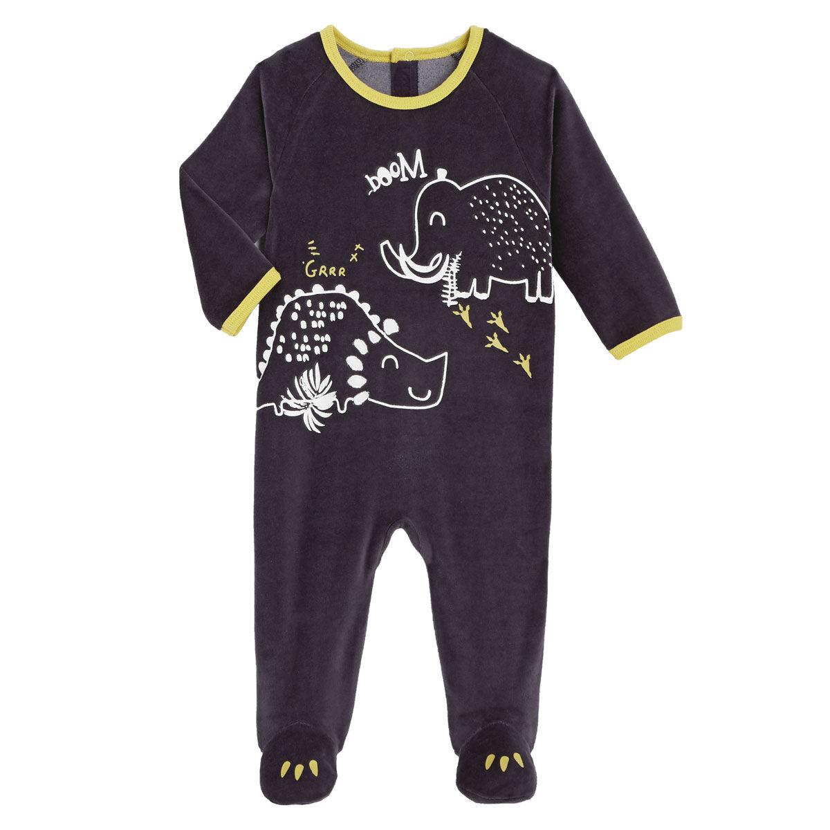 Petit Béguin Pyjama bébé en velours contenant du coton bio Marlon - Taille - 36 mois