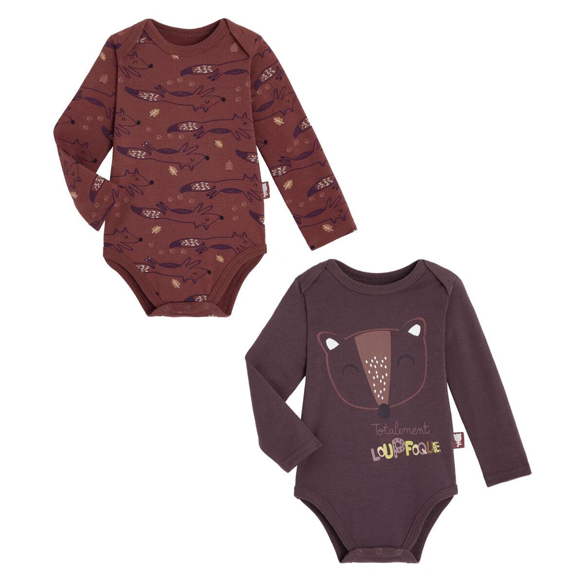 Petit Béguin Lot de 2 bodies bébé garçon manches longues contenant du coton bio Loupfoque - Taille - 6 mois