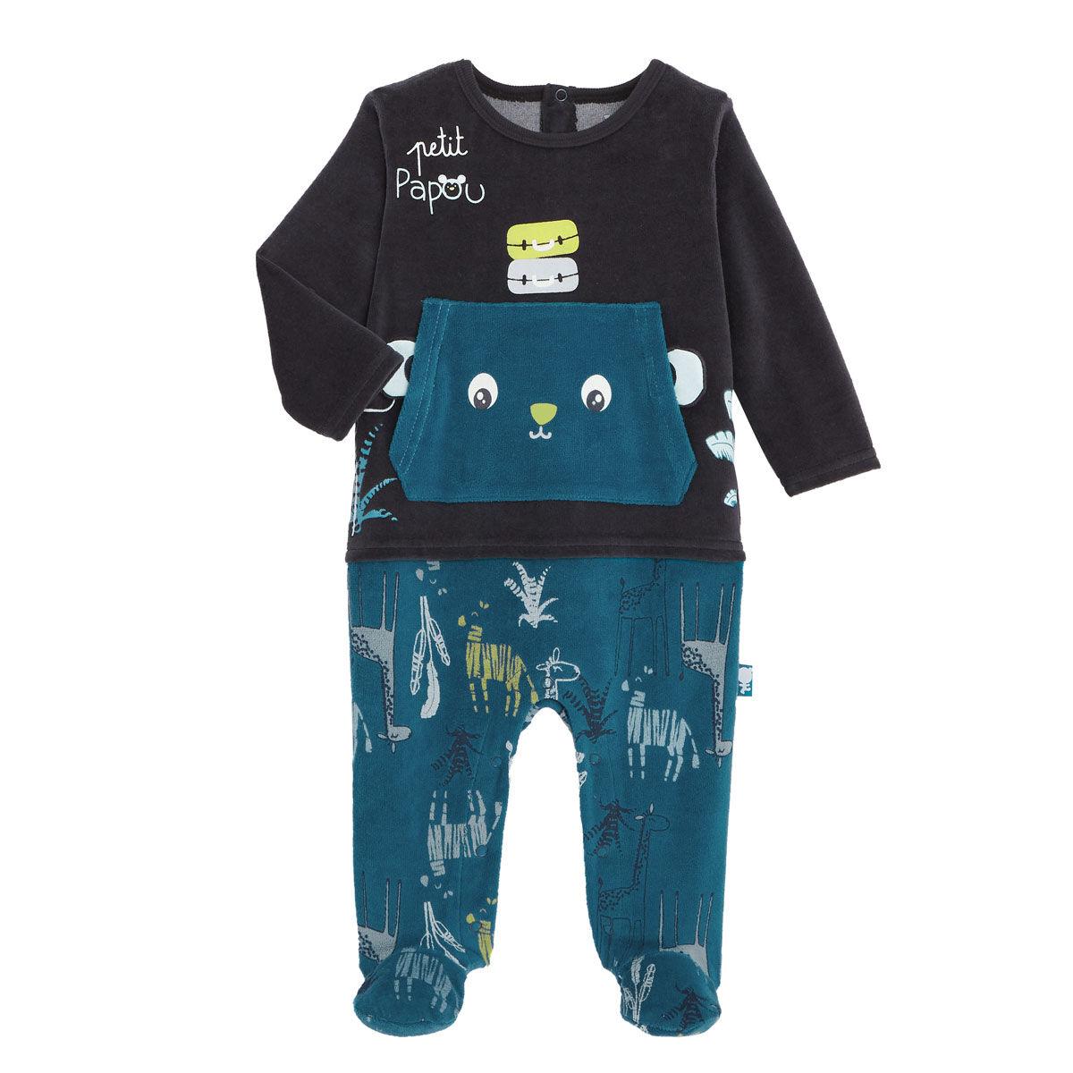 Petit Béguin Pyjama bébé en velours contenant du coton bio Papouazi - Taille - 3 mois