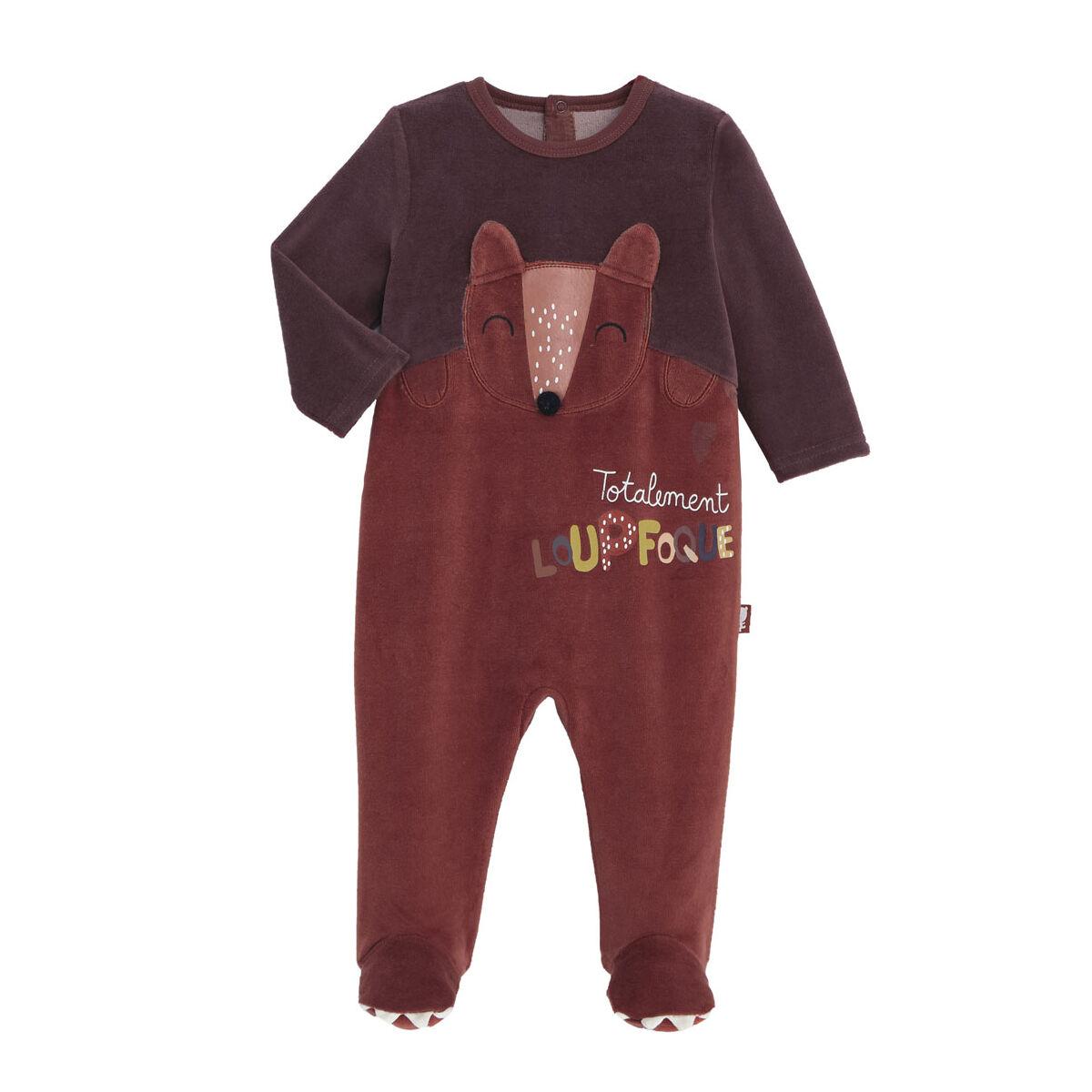Petit Béguin Pyjama bébé en velours contenant du coton bio Loupfoque - Taille - 3 mois