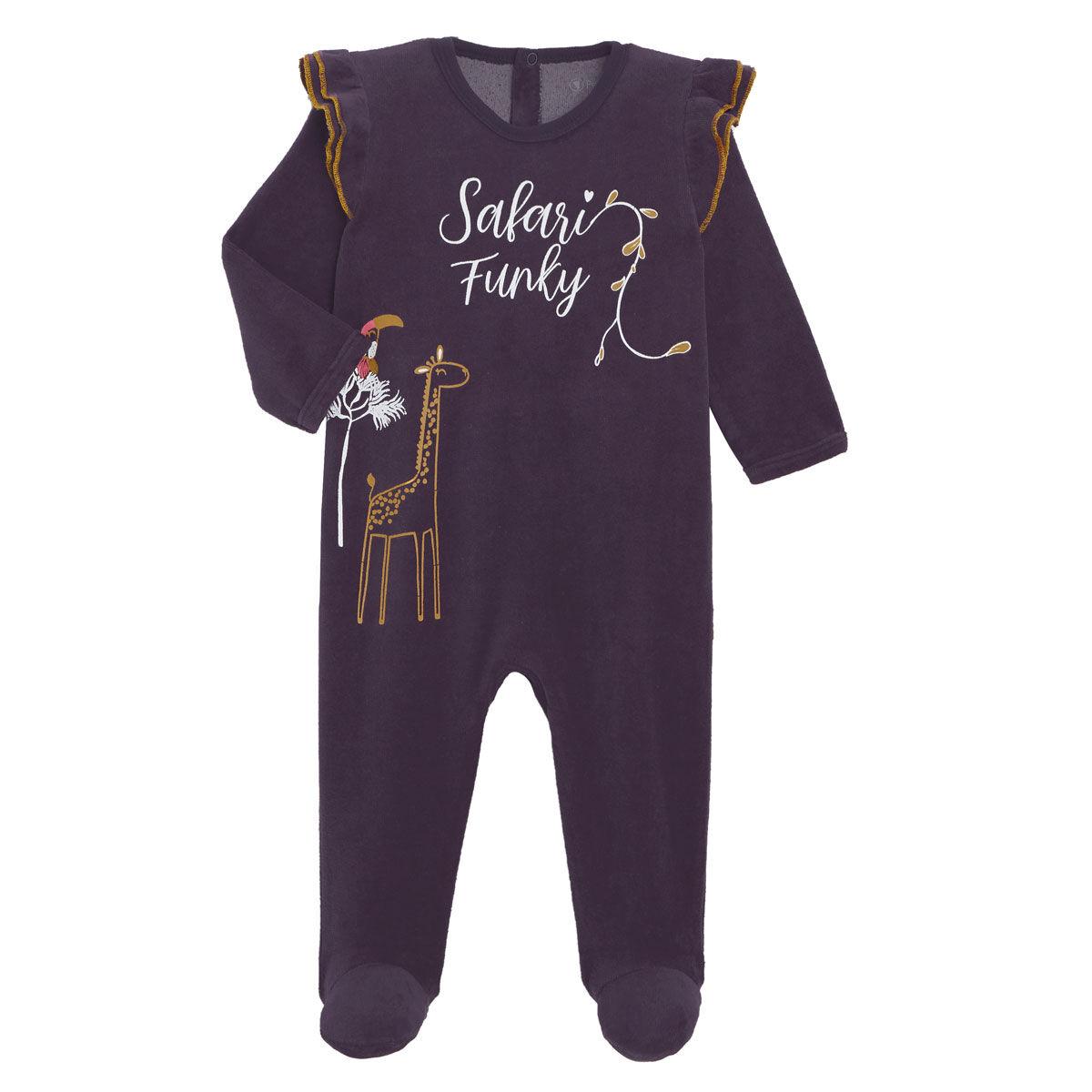 Petit Béguin Pyjama bébé en velours contenant du coton bio Funky Safari - Taille - 6 mois