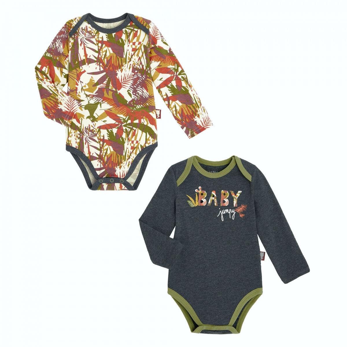 Petit Béguin Lot de 2 bodies bébé garçon manches longues contenant du coton bio Baby Jumpy - Taille - 6 mois