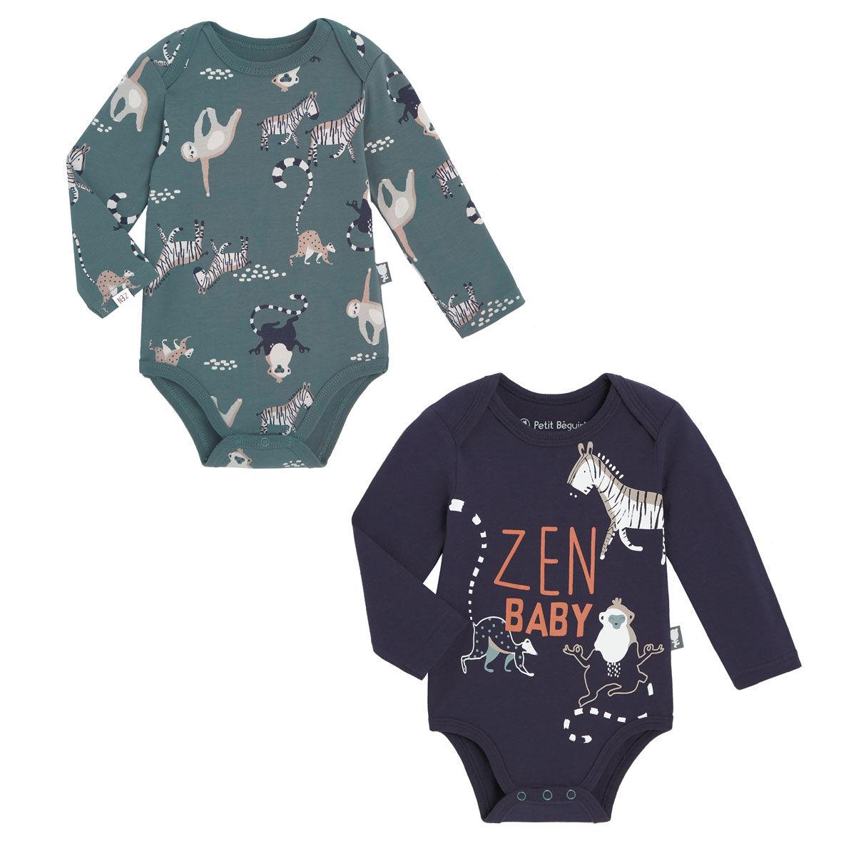 Petit Béguin Lot de 2 bodies bébé garçon manches longues Baby Zen - Taille - 6 mois