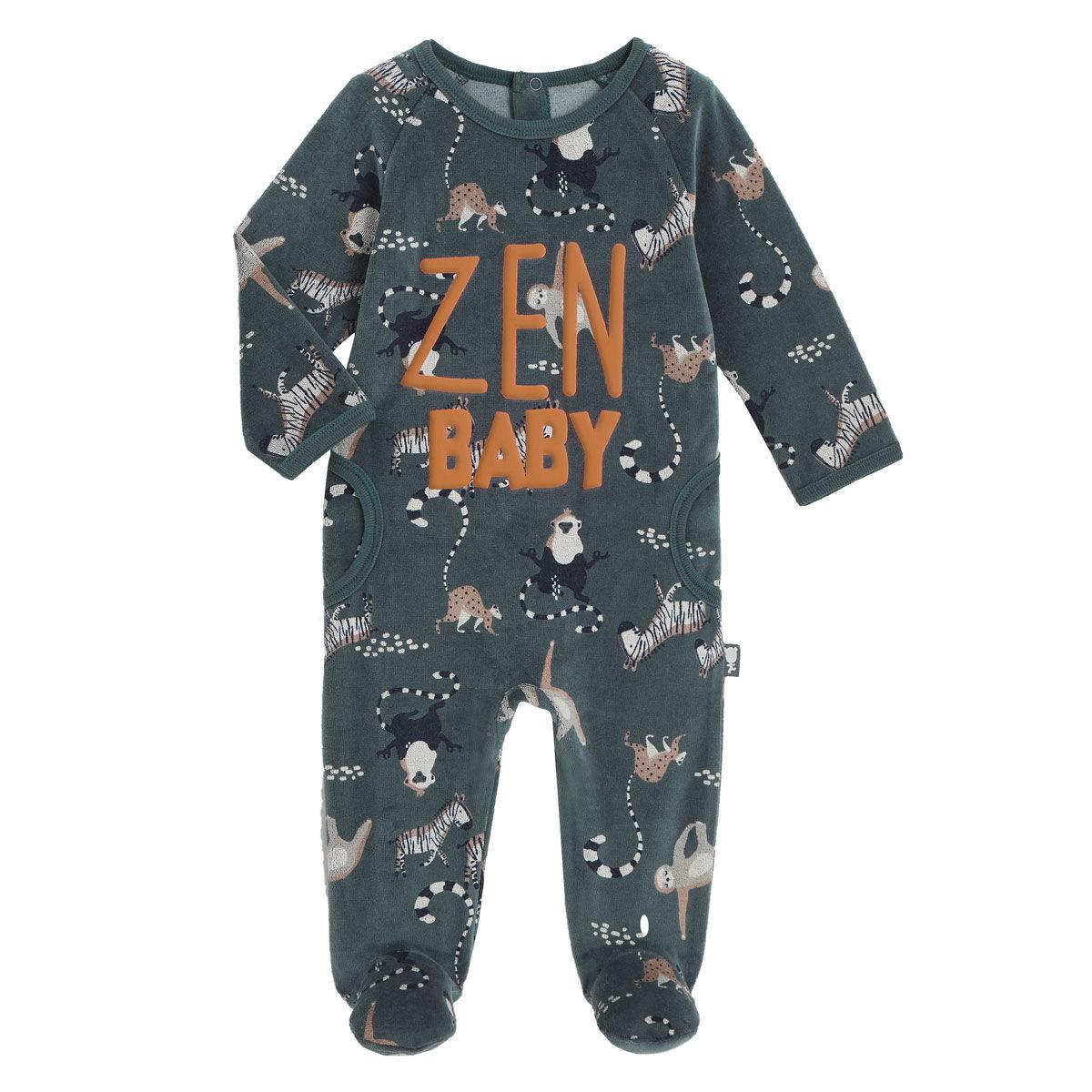 Petit Béguin Pyjama bébé en velours Baby Zen - Taille - 6 mois