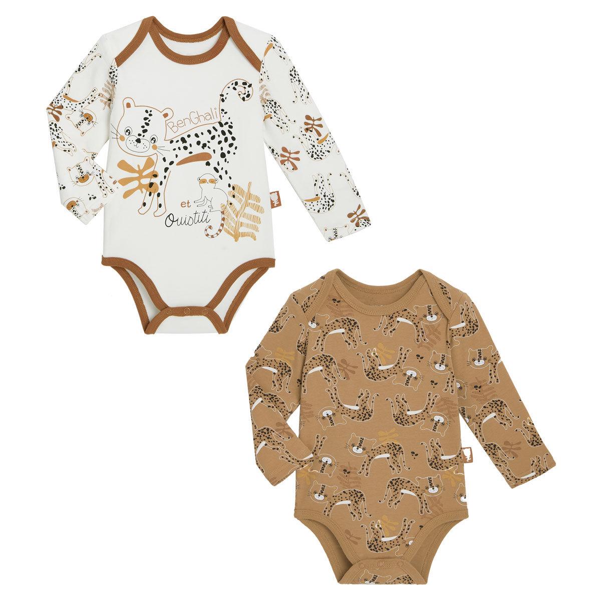Petit Béguin Lot de 2 bodies bébé garçon manches longues Benghali - Taille - 6 mois