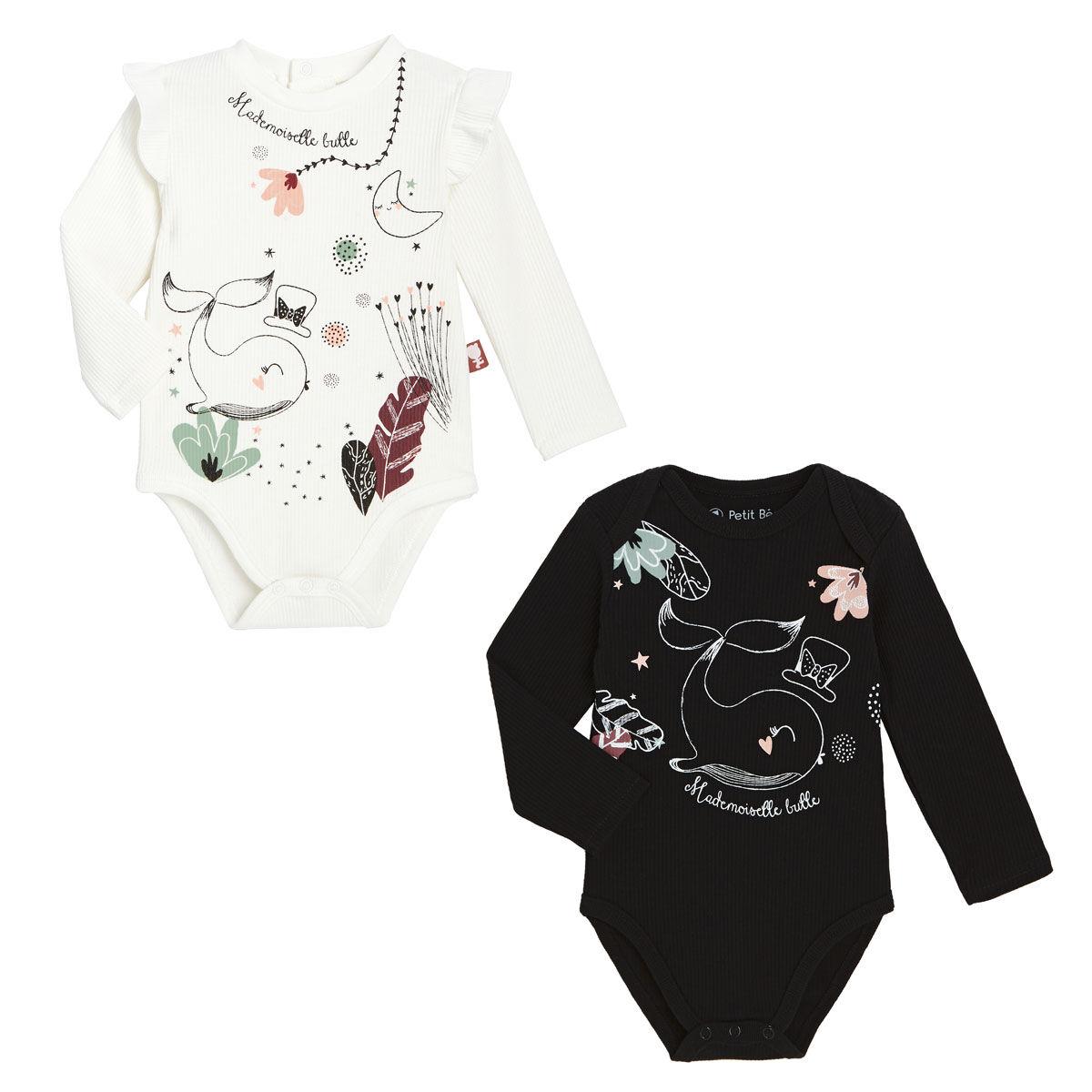 Petit Béguin Lot de 2 bodies bébé fille manches longues Bulle - Taille - 6 mois