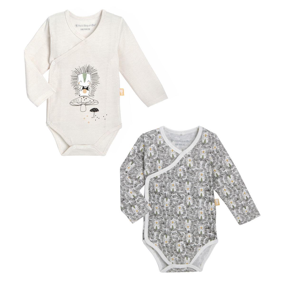 Petit Béguin Lot de 2 bodies bébé mixte croisés manches longues contenant du coton bio Shuiro - Taille - 1 mois