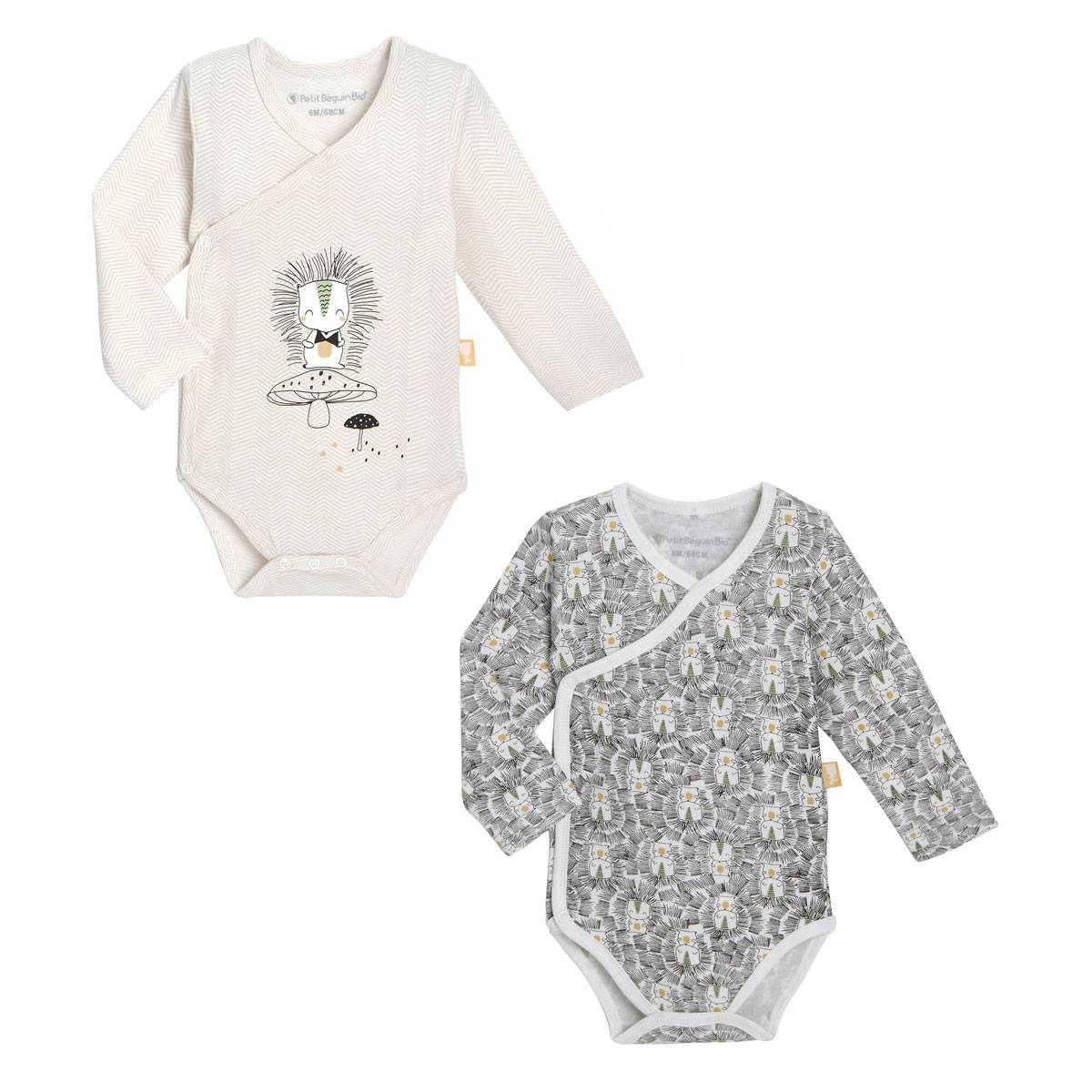 Petit Béguin Lot de 2 bodies bébé mixte croisés manches longues contenant du coton bio Shuiro - Taille - 6 mois