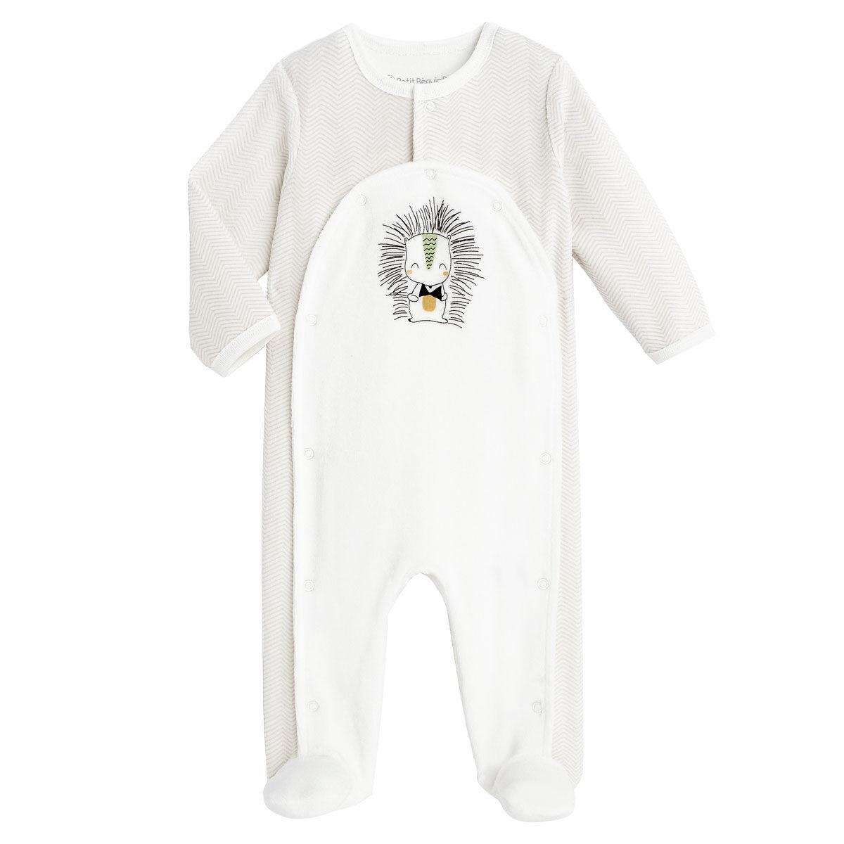 Petit Béguin Pyjama bébé mixte en velours contenant du coton bio Shuiro - Taille - 3 mois