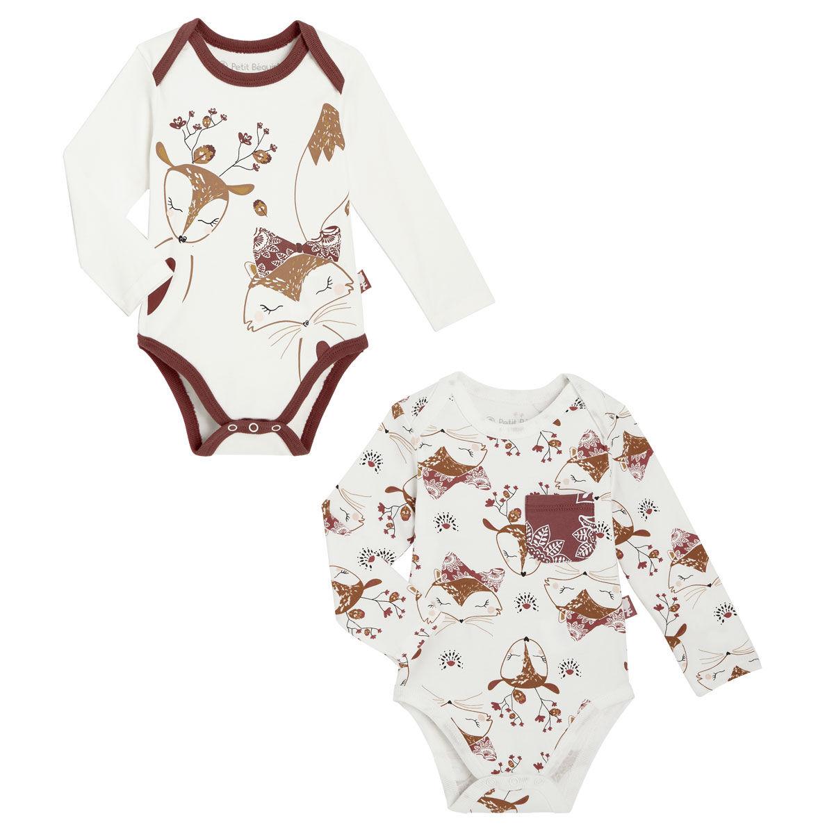 Petit Béguin Lot de 2 bodies bébé fille manches longues Amaya - Taille - 12 mois