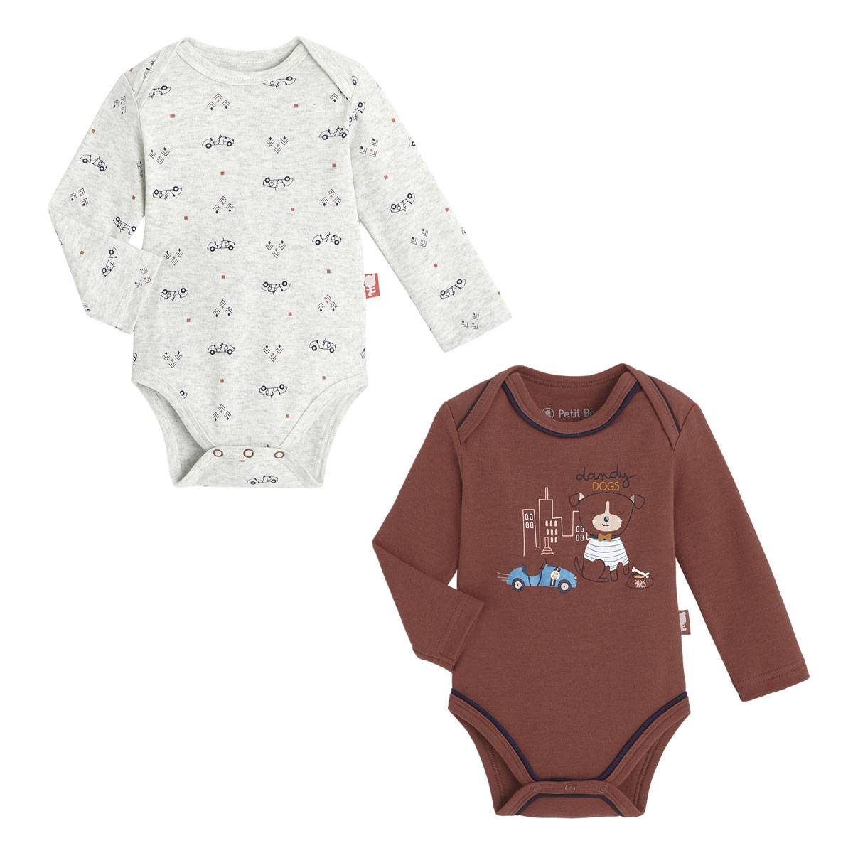 Petit Béguin Lot de 2 bodies bébé garçon manches longues Dandy Dog - Taille - 18 mois