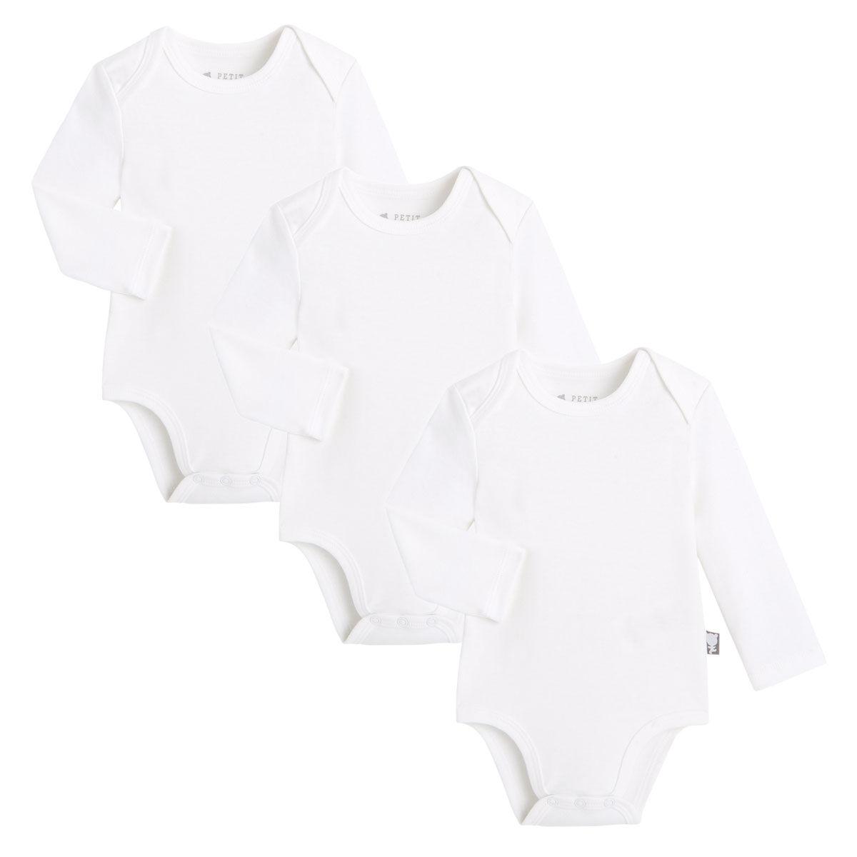 Petit Béguin Lot de 3 bodies bébé manches longues - Taille - 12 mois