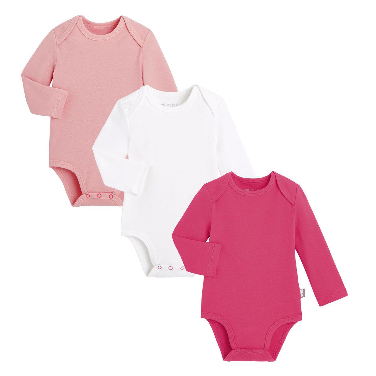 Petit Béguin Lot de 3 bodies bébé manches longues - Taille - 6 mois
