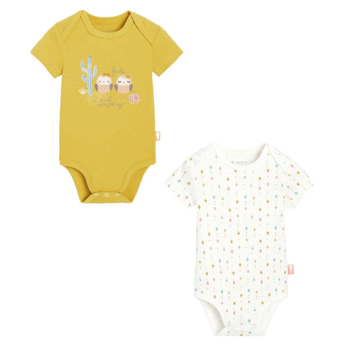 Petit Béguin Lot de 2 bodies bébé fille manches courtes Frida - Taille - 36 mois